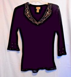 Choices Shell Tunic Black with Deep V Neck Metallic Gold Trim 3/4 Sl. Lined #Choices #Tunic #Clubwear