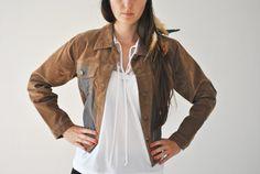 Woman Vintage Suede Flock Jacket / Woman Western Washed Jacket