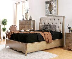 OCFurniture - Furniture of America CM7432 Brushed Gold Finish Bed, $649.00 (https://www.ocfurniture.com/furniture-of-america-cm7432-brushed-gold-finish-bed/)