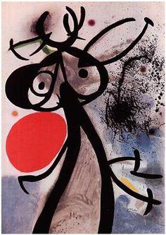 Femme, oiseaux devant le soleil, Joan Miro 1972                                                                                                                                                      More