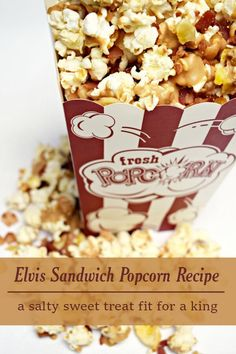 Want a salty and sweet popcorn for your next movie night? Try this gourmet popcorn recipe that is a twist on the Elvis Sandwich! Healthy Popcorn, Gourmet Popcorn, Popcorn Recipes, Candy Recipes, Fast Healthy Meals, Fast Easy Meals, Delicious Desserts, Dessert Recipes, Yummy Food
