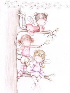 Decoración infantil Il Mondo di Alex, Papel mural efecto pintado a mano, HADAS EN EL ARBOL II... personalizado con nombre o frase y a medida.