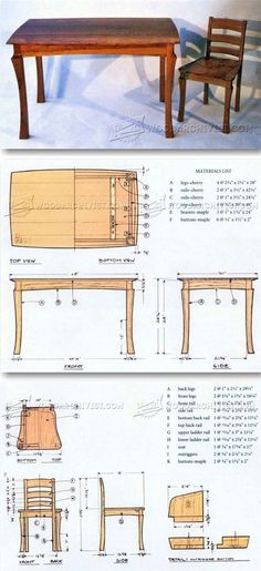 Dining Table and Chairs Plans - Furniture Plans and Projects | WoodArchivist.com