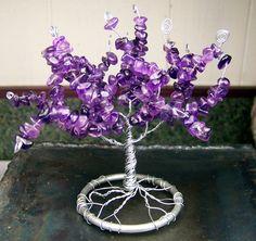 Amethyst Gemstone Tree of Life sculpture  genuine by mandalarain, $50.00