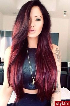 Long hair. Burgundy colour