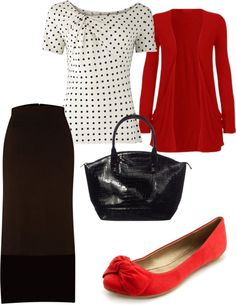 """""""red with black and white"""" by holiness-preachers-wife ❤ liked on Polyvore"""