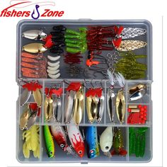 2014 New Fishing Lures Lot 127pcs Plastic Fishing Lures Set With Box Fishing Feeder Tackle Sets Hard Lure Soft Bait Set $35.77