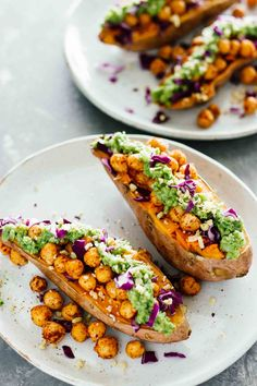 Baked Sweet Potatoes w/ Chickpeas & Broccoli Pesto! Delicious and super easy to make (30 minutes)! Vegan, vegetarian, gluten free. :) Perfect for lunch, dinner, or as a side dish!