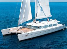Richard Branson's catamaran the Necker Belle...I'd love to go on it just to jump on the net that spans between the two hulls like a trampoline...yes it can be done!