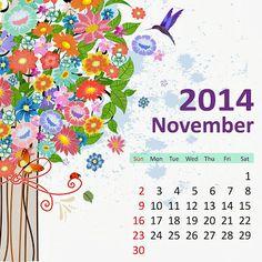 11-November-2014 - Monthly Flower HD Calendars : Easily Printable and Adjustable as Desktop Backgrounds