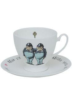 Mrs Moore White Tweedles Bone China Teacup and Saucer