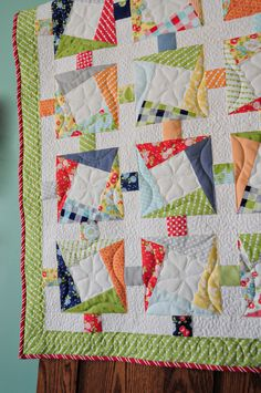 cranky 9 patch with big white center- love it. #quiltblock #quilt