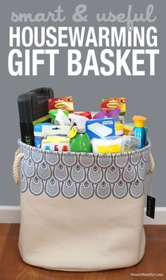 Smart and useful housewarming gift basket! LOVE that you give people what they actually need in the first few days (or things they might forget to buy... like trash bags!)
