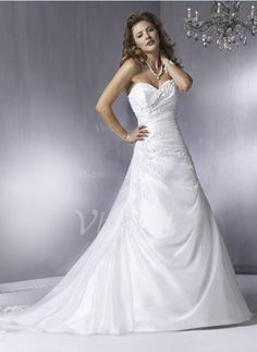A-Line/Princess Strapless Sweetheart Court Train Organza Satin Wedding Dress With Ruffle Beading Appliques Lace (00205000309)