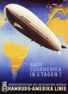 Hamburg to South America by Zeppelin, a vintage travel poster, 1930s