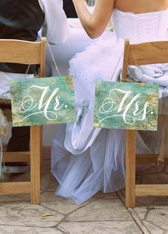 Travel Themed Wedding Chair Signs Set of 2 by TheRusticBerry