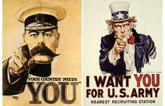 This image speaks for itself. Recruitment for the war. Poster done by Alfred Leete's.      http://www.telegraph.co.uk/news/picturegalleries/uknews/3400728/The-power-of-propaganda-wartime-posters.html