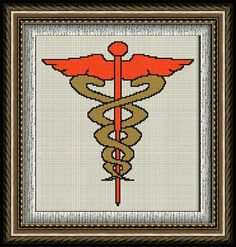 Caduceo (Símbolo Médico) en punto de cruz y petit point. Bottle Stoppers, Woodturning, Cross Stitch Patterns, Diy Crafts, Couture, Logos, Art, Physical Therapy, Medicine