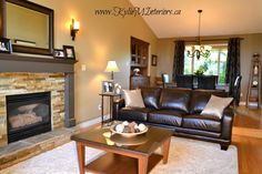 Warm and Welcoming Living Room and Dining Room Design - Nanaimo - Kylie M Interiors