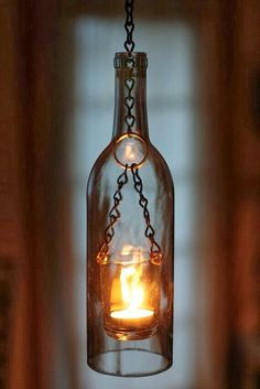 Diy wine bottle candlelight