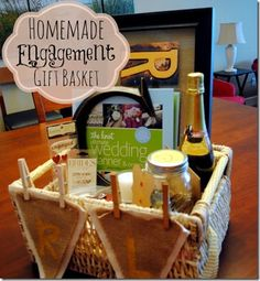 Homemade Engagement Gift Basket - great engagement gift AND a great gift idea for Valentine's Day or Anniversary in there!