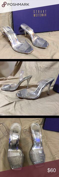 "Stuart Weitzman Crystal Heeled Sandal, Clear Stuart Weitzman Crystal Heeled Sandal, Clear. Size 7 M. Gently worn. Box included. Heel height 3"". Stuart Weitzman Shoes Sandals"