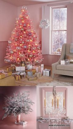 Dreaming Of A Pink Christmas - Christmas Decorating - I told my mom I wanted this mini pink Christmas tree from Walmart for my room because it's tradition to get a real one