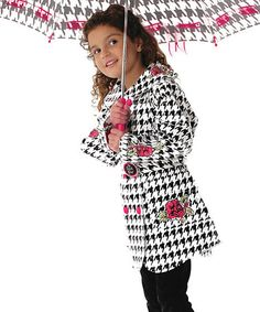 Take a look at this Black The English Roses Houndstooth Raincoat - Toddler & Girls by Kidorable on #zulily today!