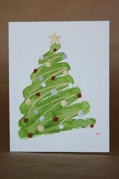 Ideas Diy Christmas Cards Handmade Watercolor For 2019 Painted Christmas Cards, Homemade Christmas Cards, Noel Christmas, Handmade Christmas, Homemade Cards, Christmas Decorations, Christmas Ideas, Christmas Projects, Watercolor Christmas Art