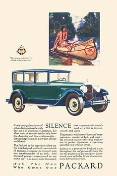 An ad for the line of cars produced by Packard. Promoting its quiet influence and made in America status.