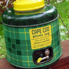 1950s Cape Cod Picnic Jug, Thermos in Green Plaid by calloohcallay, via Flickr
