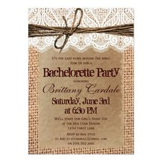 Rustic Burlap Bachelorette Party Invitations Custom Announcement