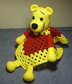 Pooh Inspired Lovey Blankie by Knotty Hooker Designs - This pattern is available for $2.75 USD. It measures appx. 14 inches square.  Perfect for the diaper bag, car ride, crib or whatever tickles your fancy. It's smaller size makes it the perfect carry along companion for your little one. They work up quickly and easily!