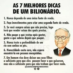 GEMAS DO BRASIL: AS 7 MELHORES DICAS DE UM BILIONÁRIO Warren Buffet Frases, Start Ups, Stress, Financial Tips, Better Life, Saving Money, Digital Marketing, Investing, How To Make Money