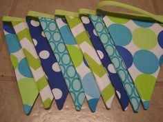 SALE Flag Banner, Ready to Ship, 9 Ft 9 Large Flags, Chevron Big Dot Fabric Banner/Bunting,Lime Green,Royal Blue and Turquoise Photo Prop