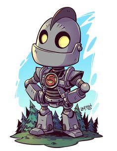 Chibi Iron Giant - by Derek Laufman Cartoon Kunst, Comic Kunst, Cartoon Drawings, Cartoon Art, Cartoon Characters, Comic Art, Character Drawing, Comic Character, Flash Comics