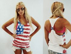 DIY American flag tank-top : 4th of july is coming up!!!