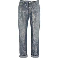 Golden Goose Deluxe Brand Karly glittered mid-rise boyfriend jeans ($302) ❤ liked on Polyvore featuring jeans, pants, golden goose deluxe brand, blue, medium rise jeans, glitter jeans, blue jeans, button-fly jeans and boyfriend fit jeans