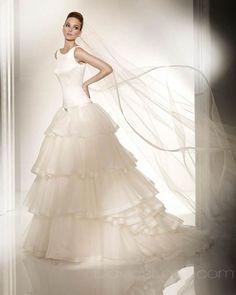 Ball Gown Scoop Long Satin #Wedding #Dress $369.99