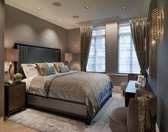Charcoal/gray bedroom.  Classy.
