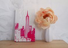 Skyline - Pink on White Maple Plywood, Designer Wallpaper, Bay Area, Stencils, Upcycle, Check, Pink, Crafts, Art