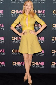 Blake Lively - she arrived at the Chime For Change anniversary party in NY wearing a dress from the Gucci autumn/winter 2014 collection.