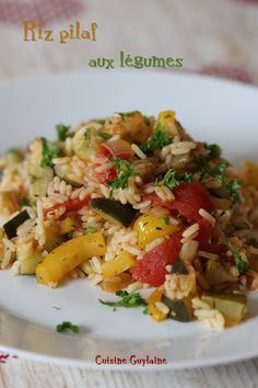 Pilaf rice with vegetables – Guylaine's Cuisine - Dinnerrecipeshealthy sites Easy Smoothie Recipes, Snack Recipes, Confort Food, Vegetable Rice, Healthy Snacks, Healthy Recipes, Easy Meals, Food And Drink, Dishes