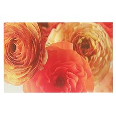 KESS InHouse Debbra Obertanec 'Coral Ranunculus' Pink Floral Dog Place Mat, 13' x 18' ** Tried it! Love it! Click the image. : Dog food container