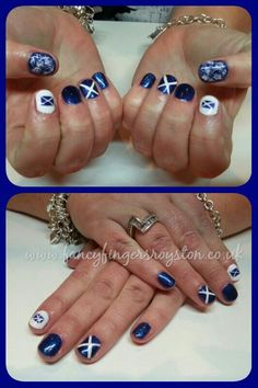 Scottish flag themed nails Flag Nails, Beauty Tips, Beauty Hacks, Nail Colors, Colours, Pedicures, Pretty Nails, Hair And Nails, Fingers