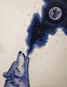 "I would like to do something similar, but with watercolor. || ""Calling the Moon"" by Robyn 'Faie' Gertjejansen 8""x10"" acrylic wolf painting watercolor acrylic moon painting."