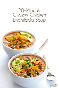 20-Minute Cheesy Chicken Enchilada Soup - http://www.cheesecutterscorner.com/20-minute-cheesy-chicken-enchilada-soup/