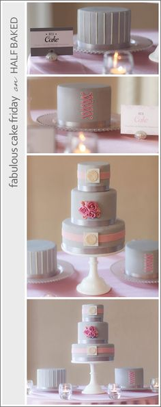 Pink & Grey Wedding Cakes