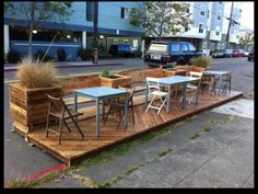 Parklet Down! Motorist Rams Downtown Los Angeles' First Parklet Outdoor Seating, Outdoor Dining, Outdoor Spaces, Outdoor Decor, Extra Seating, Urban Furniture, Street Furniture, Outdoor Furniture Sets, Furniture Ideas