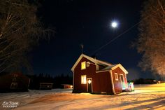 My cosy little farm in Northern Sweden #sweden #northern #farm #torp #night #scandinavia #living #gård #house #moonlight #winter #photography